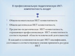 Общепользовательская ИКТ-компетентность Общепедагогическая ИКТ-компетентность