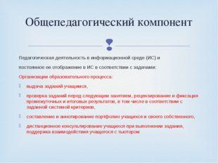 Педагогическая деятельность в информационной среде (ИС) и постоянное ее отобр
