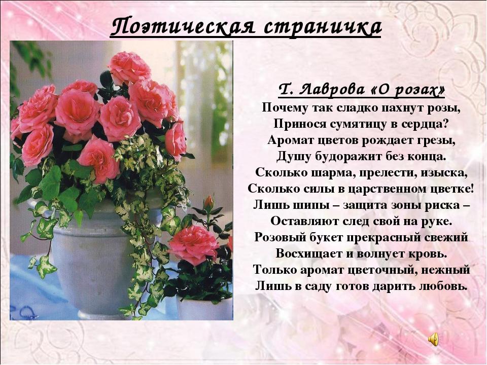 Т. Лаврова «О розах» Почему так сладко пахнут розы, Принося сумятицу в сердца...