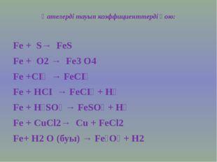 Қателерді тауып коэффициенттерді қою: Fe + S→ FeS Fe + O2 → Fe3 O4 Fe +СI₂ →