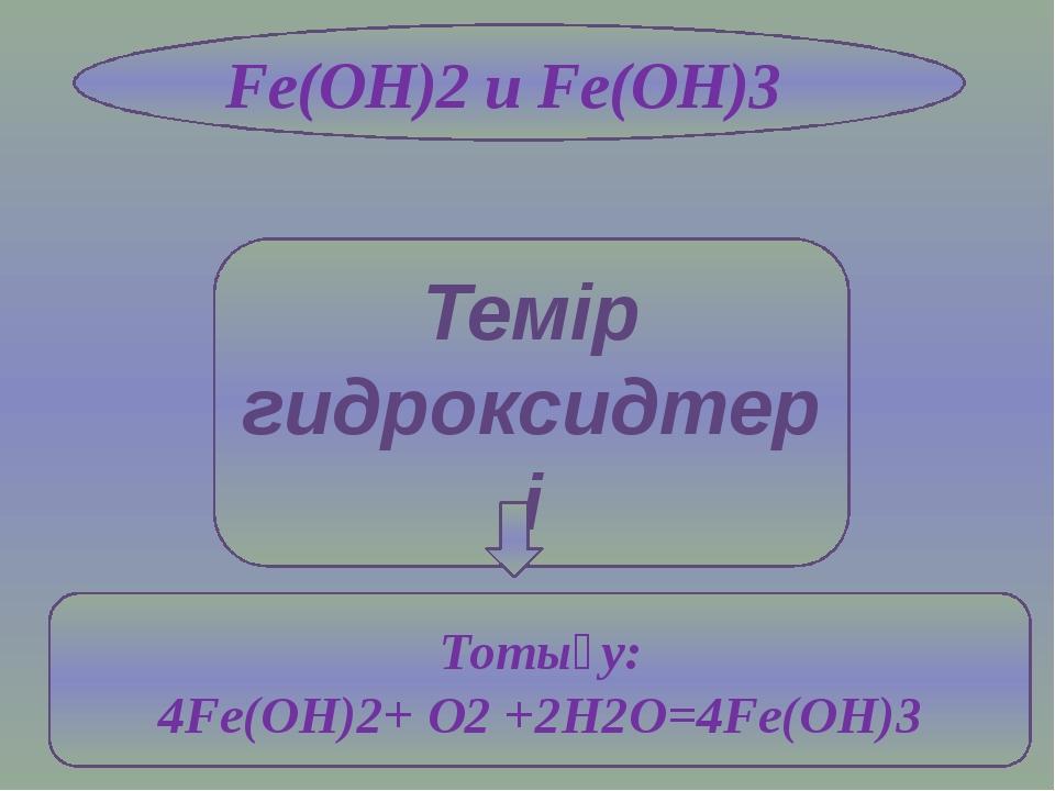 Темір гидроксидтері Fe(OH)2 и Fe(OH)3 Тотығу: 4Fe(OH)2+ O2 +2H2O=4Fe(OH)3