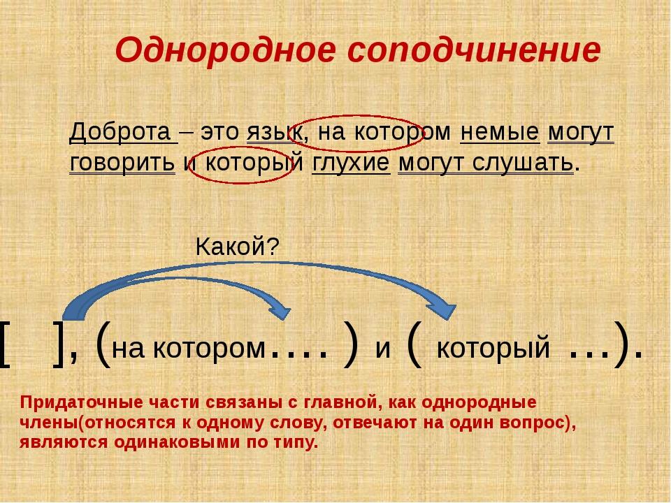 Однородное соподчинение Придаточные части связаны с главной, как однородные...
