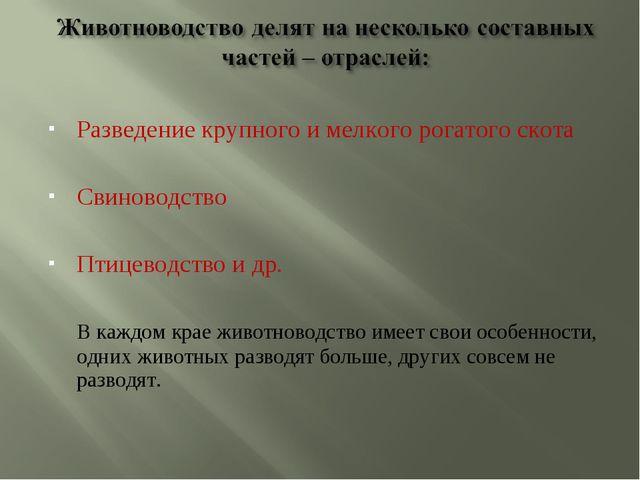 Разведение крупного и мелкого рогатого скота Свиноводство Птицеводство и др....