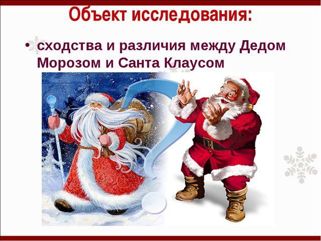 Объект исследования: сходства и различия между Дедом Морозом и Санта Клаусом