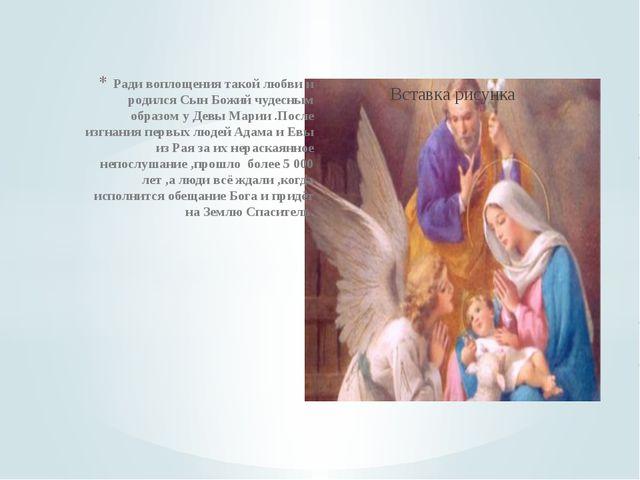 Ради воплощения такой любви и родился Сын Божий чудесным образом у Девы Марии...
