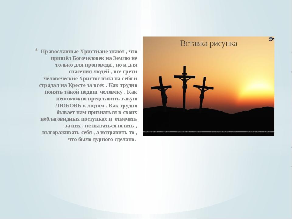 Православные Христиане знают , что пришёл Богочеловек на Землю не только для...
