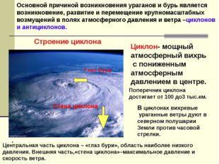 Основной причиной возникновения ураганов и бурь является возникновение, разви