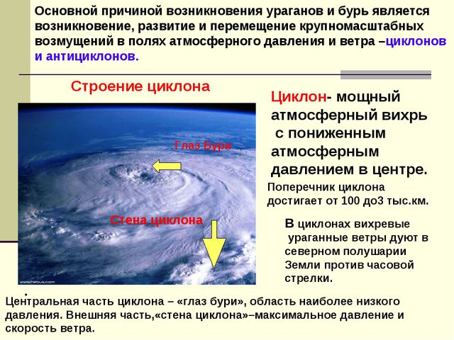 Основной причиной возникновения ураганов и бурь является возникновение, разви...