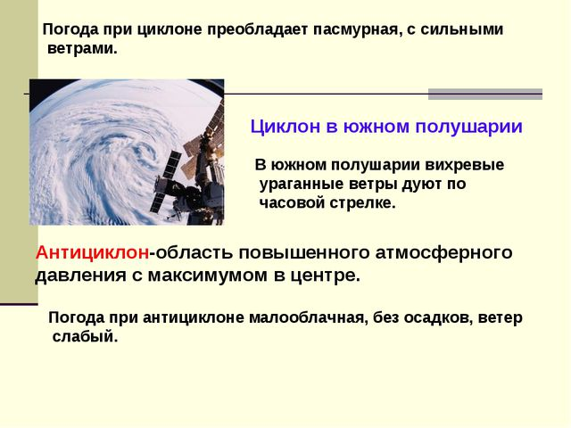Антициклон-область повышенного атмосферного давления с максимумом в центре. Ц...