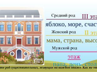 I этаж папа, день, стол II этаж мама, страна, высота III этаж яблоко, море,