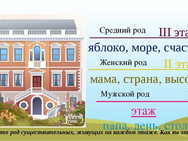 I этаж папа, день, стол II этаж мама, страна, высота III этаж яблоко, море,...