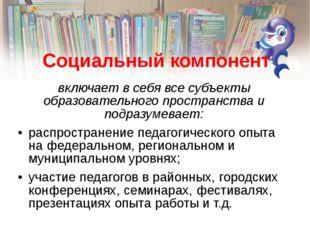 Социальный компонент включает в себя все субъекты образовательного пространст