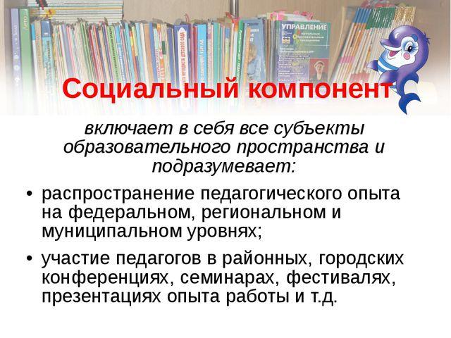 Социальный компонент включает в себя все субъекты образовательного пространст...