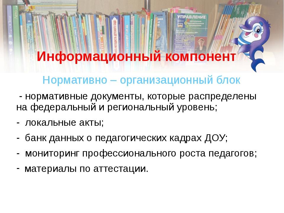 Информационный компонент Нормативно – организационный блок - нормативные доку...
