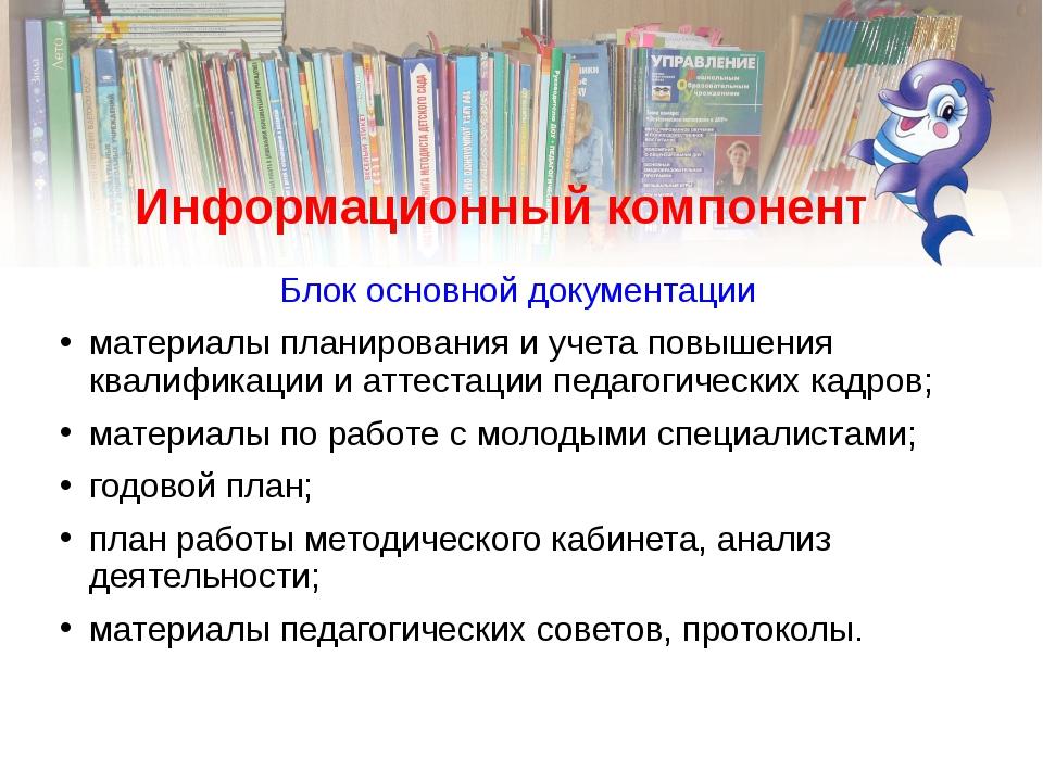 Информационный компонент Блок основной документации материалы планирования и...