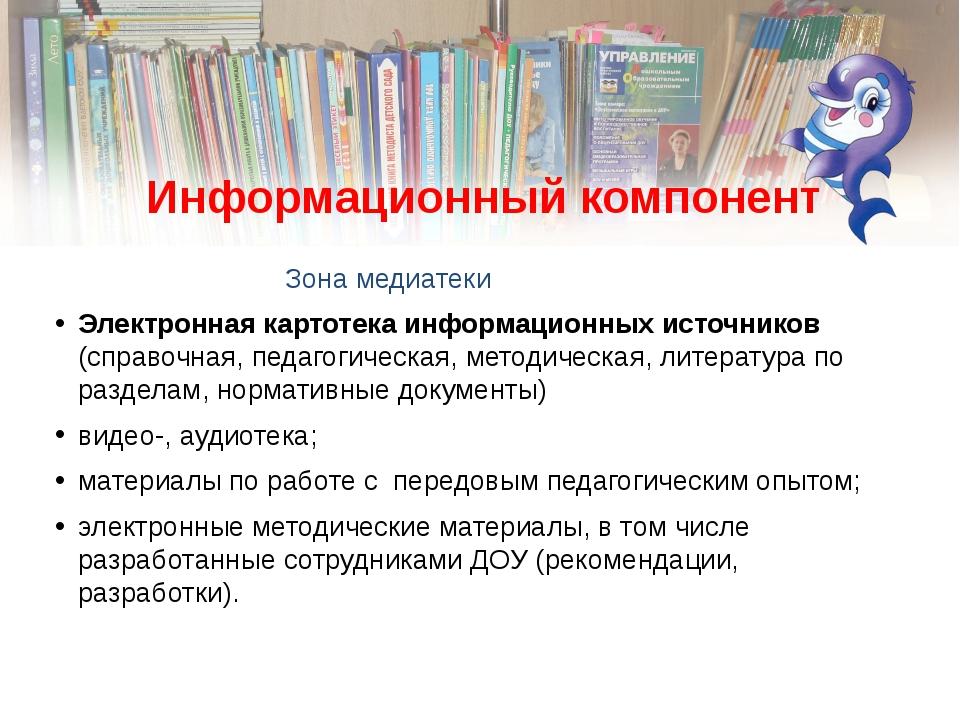 Информационный компонент Зона медиатеки Электронная картотека информационных...