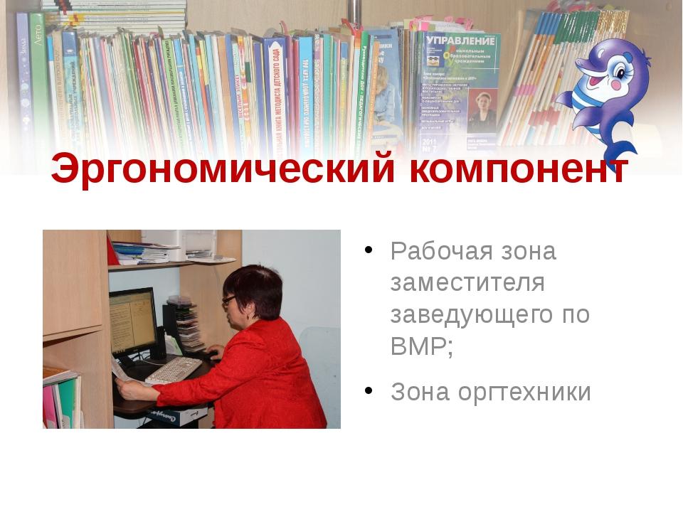 Эргономический компонент Рабочая зона заместителя заведующего по ВМР; Зона ор...