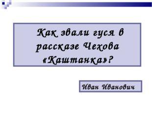 Как звали гуся в рассказе Чехова «Каштанка»? Иван Иванович