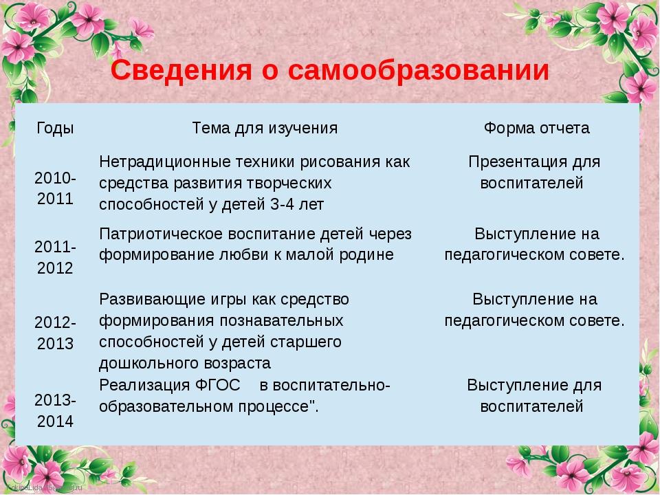 Сведения о самообразовании Годы Темадляизучения Формаотчета 2010-2011 Нетр...