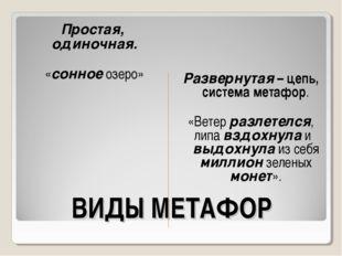 ВИДЫ МЕТАФОР Простая, одиночная. «сонное озеро» Развернутая – цепь, система м
