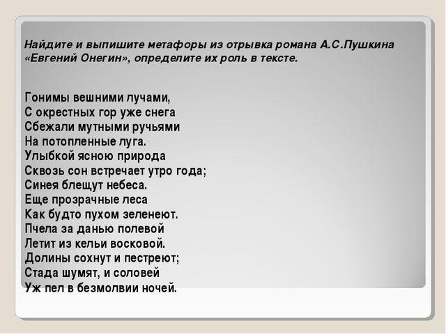 Найдите и выпишите метафоры из отрывка романа А.С.Пушкина «Евгений Онегин», о...