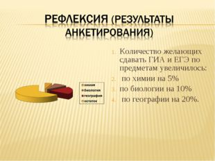 Количество желающих сдавать ГИА и ЕГЭ по предметам увеличилось: по химии на
