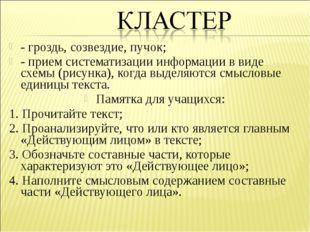 - гроздь, созвездие, пучок; - прием систематизации информации в виде схемы (р