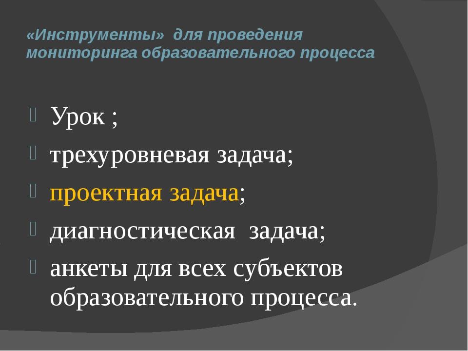 «Инструменты» для проведения мониторинга образовательного процесса Урок ; тр...