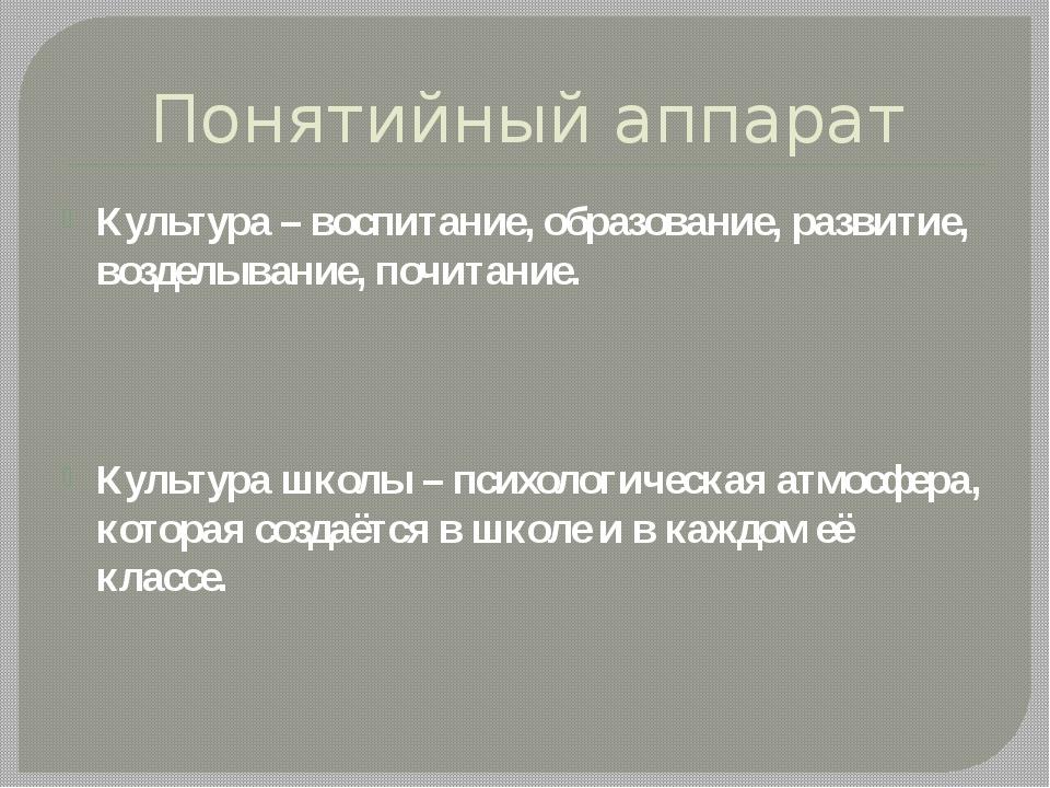 Понятийный аппарат Культура – воспитание, образование, развитие, возделывание...