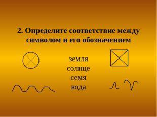 2. Определите соответствие между символом и его обозначением земля солнце сем
