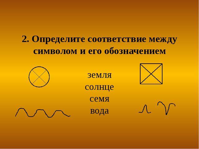 2. Определите соответствие между символом и его обозначением земля солнце сем...