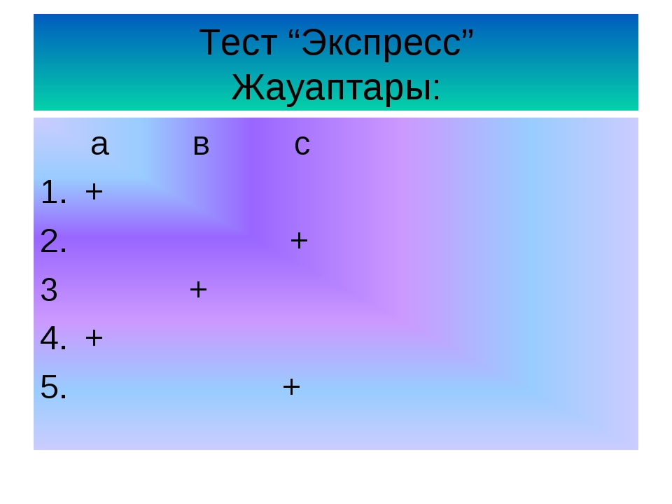 "Тест ""Экспресс"" Жауаптары: a в с + + 3 + + 5. +"