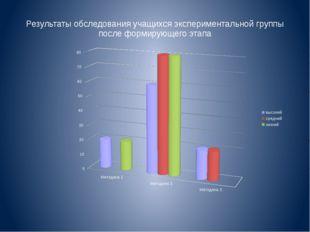 Результаты обследования учащихся экспериментальной группы после формирующего