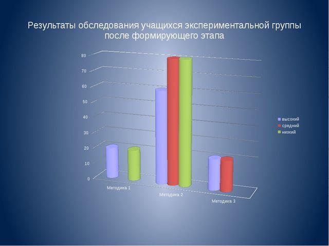Результаты обследования учащихся экспериментальной группы после формирующего...