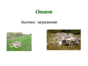 Ответ Бытовое загрязнение