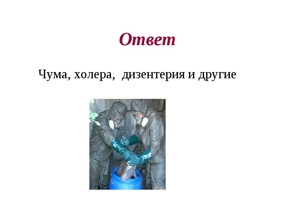 Ответ Чума, холера, дизентерия и другие