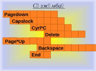 Сөзжұмбақ Pagedown Capslock Cyrl*C Delete Page*Up Backspace End