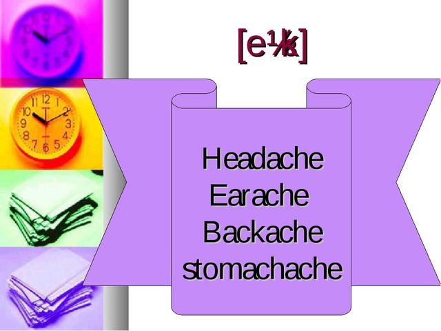 [eɪk] Headache Earache Backache stomachache