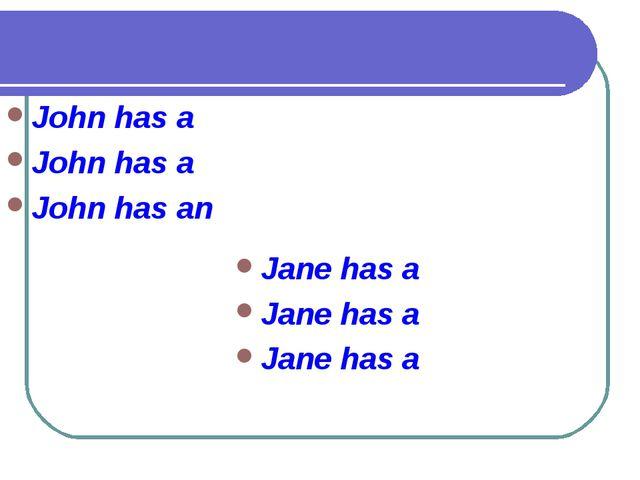 John has a John has a John has an Jane has a Jane has a Jane has a