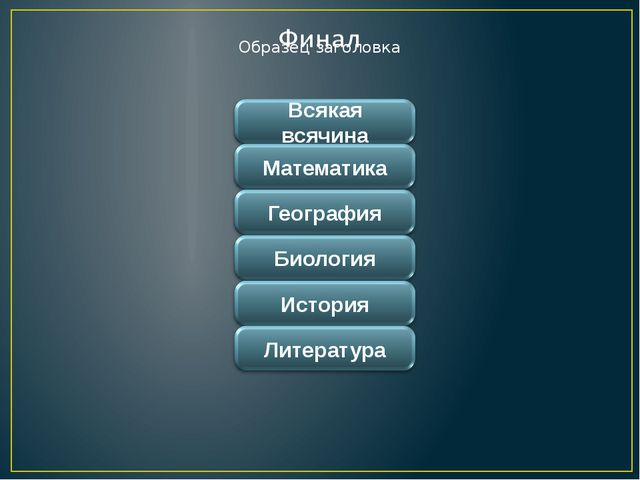 Всякая всячина Математика География Биология История Литература