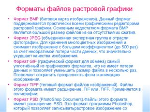 Форматы файлов растровой графики Формат BMP (битовая карта изображения). Данн