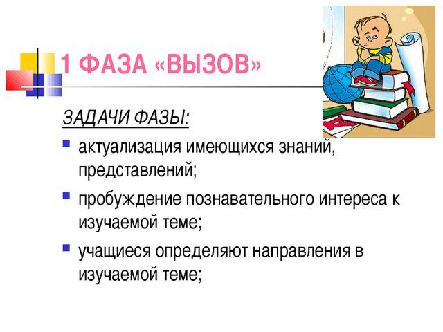 1 ФАЗА «ВЫЗОВ» ЗАДАЧИ ФАЗЫ: актуализация имеющихся знаний, представлений; про...