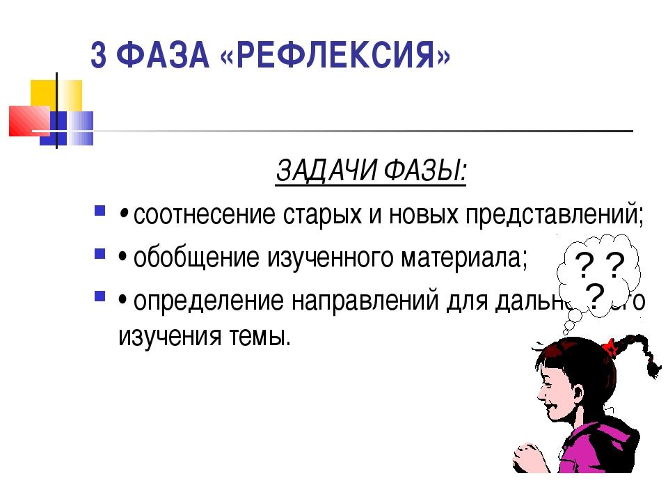 3 ФАЗА «РЕФЛЕКСИЯ» ЗАДАЧИ ФАЗЫ: • соотнесение старых и новых представлений; •...