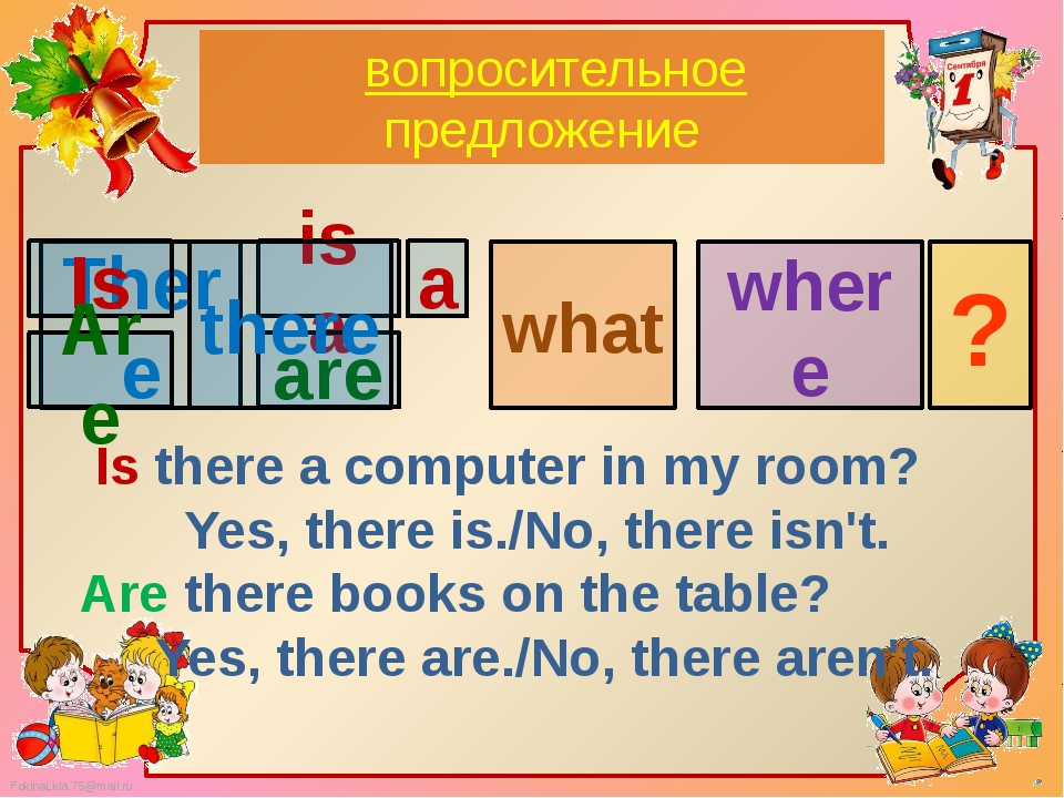 вопросительноe предложение what where Is there a computer in my room? Yes, t...