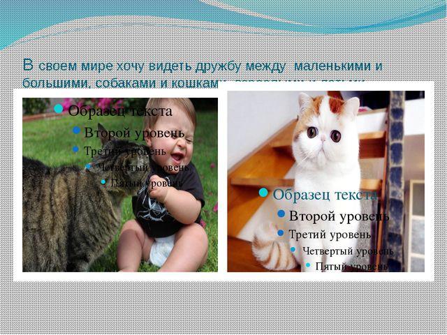 В своем мире хочу видеть дружбу между маленькими и большими, собаками и кошка...