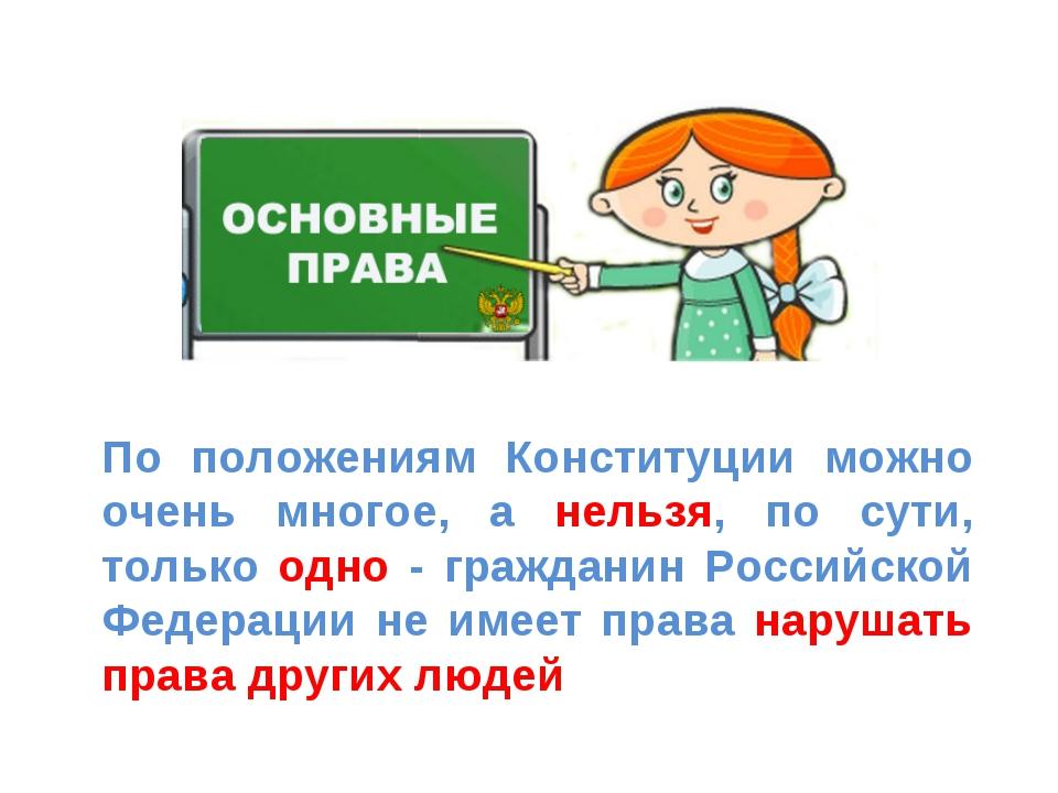 По положениям Конституции можно очень многое, а нельзя, по сути, только одно...