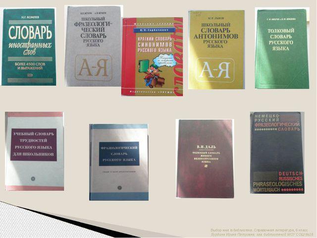 Выбор книг в библиотеке. Справочная литература, 6 класс Бурдина Ирина Петровн...