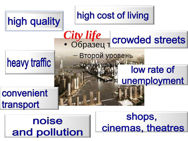 What can you see in the city? Cars A lot of people Big and tall houses