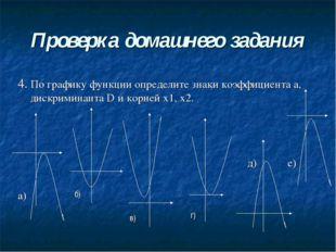 Проверка домашнего задания 4. По графику функции определите знаки коэффициент