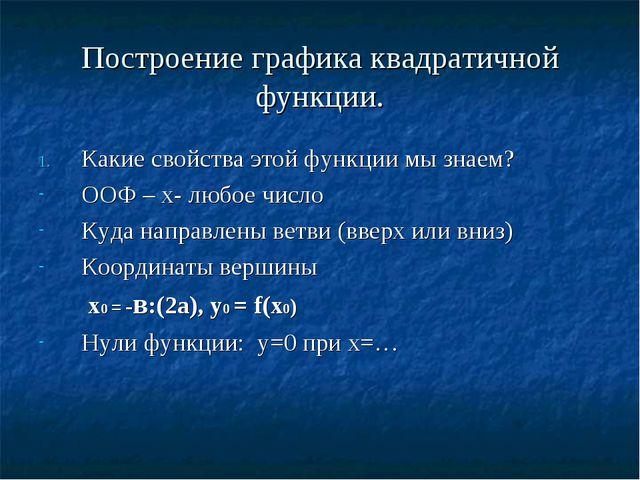 Построение графика квадратичной функции. Какие свойства этой функции мы знаем...